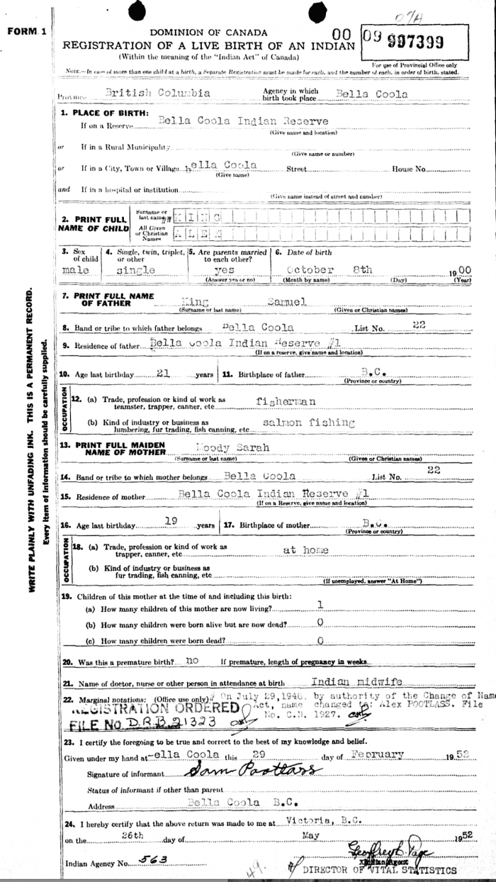 British Columbia Native American birth record example - OnGenealogy