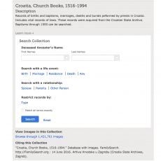 image of search window for Croatia Church Books 1516-1994 including Croatia birth, marriage, and death records