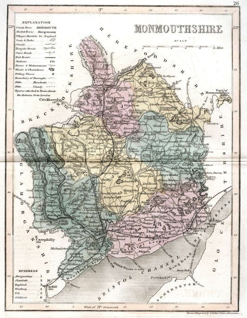 Monmouthshire Map for Genealogy