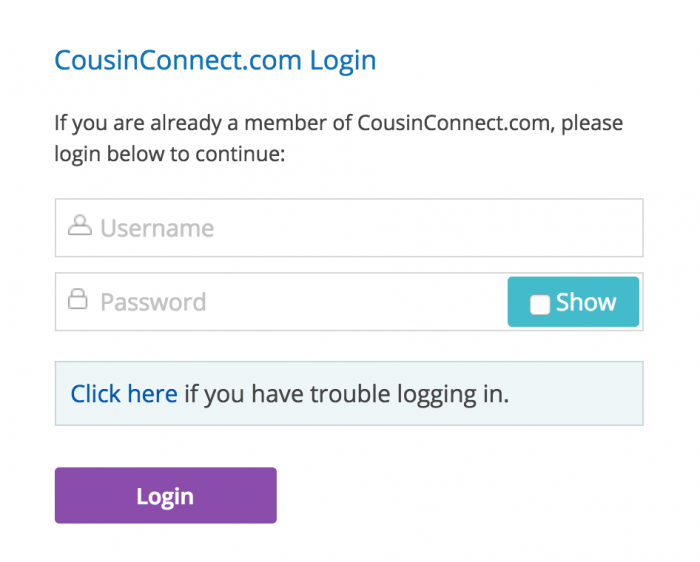 CousinConnect login prompt at Adopted