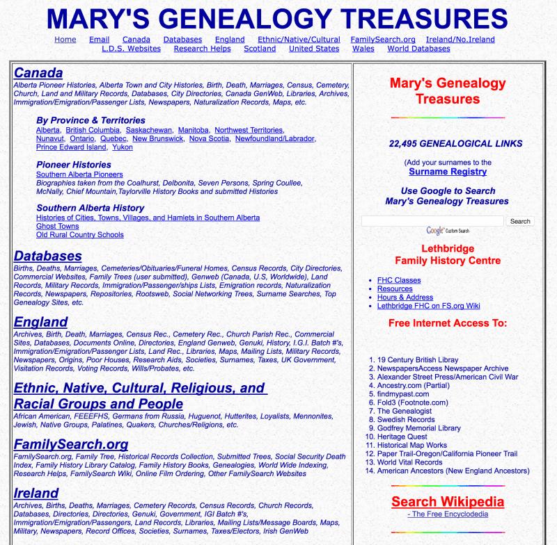 Mary's Genealogy Treasures - OnGenealogy