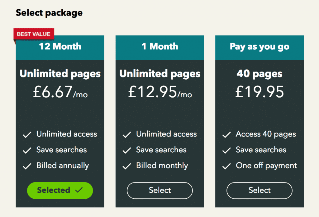 British Newspaper Archive subscription plans