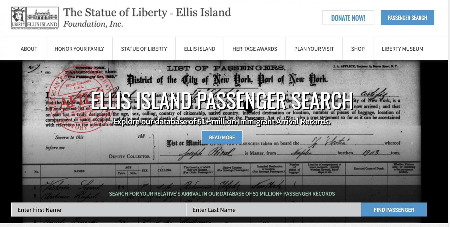 Service Immigration Ellis Island