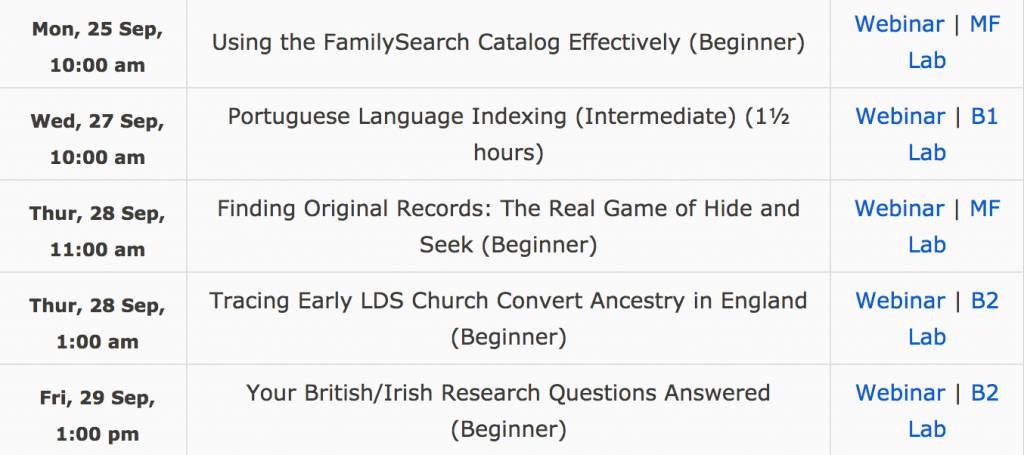 FamilySearch September webinars free