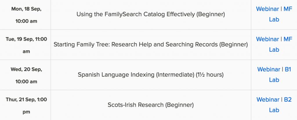 FamilySearch free genealogy webinars
