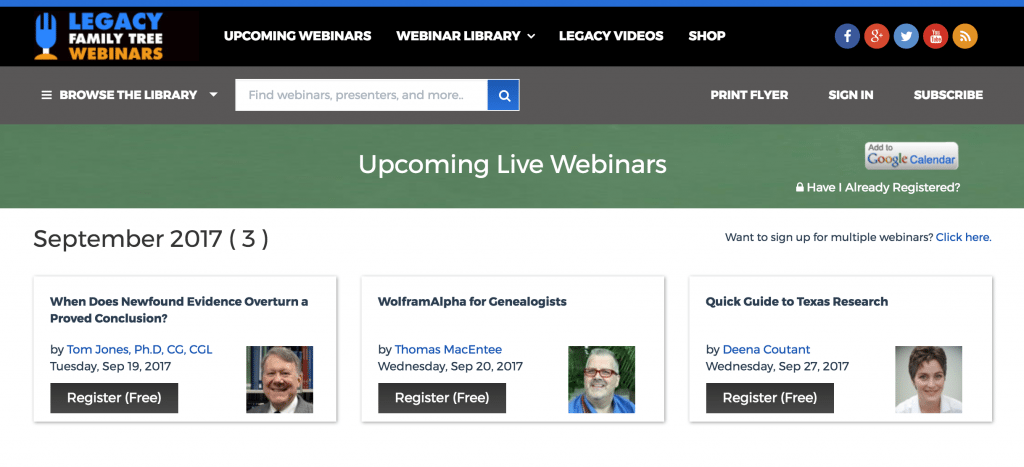 Free Legacy Family Tree Webinars for genealogy and family history