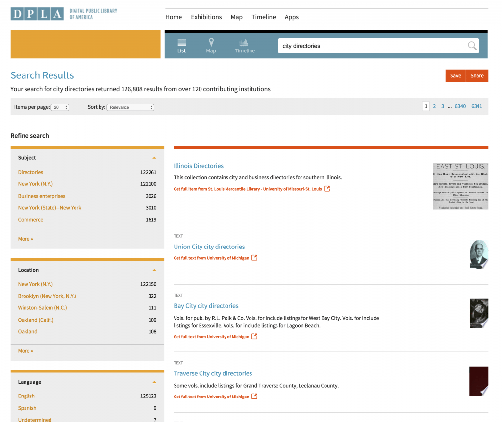 DPLA search city directories