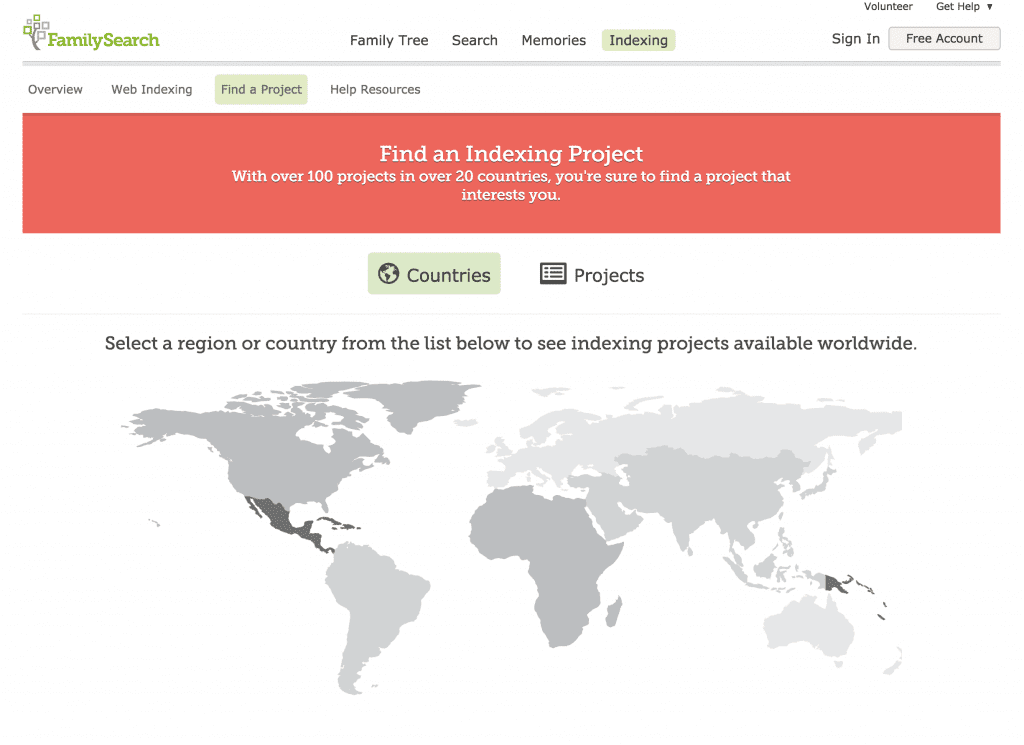 Find an indexing project by country