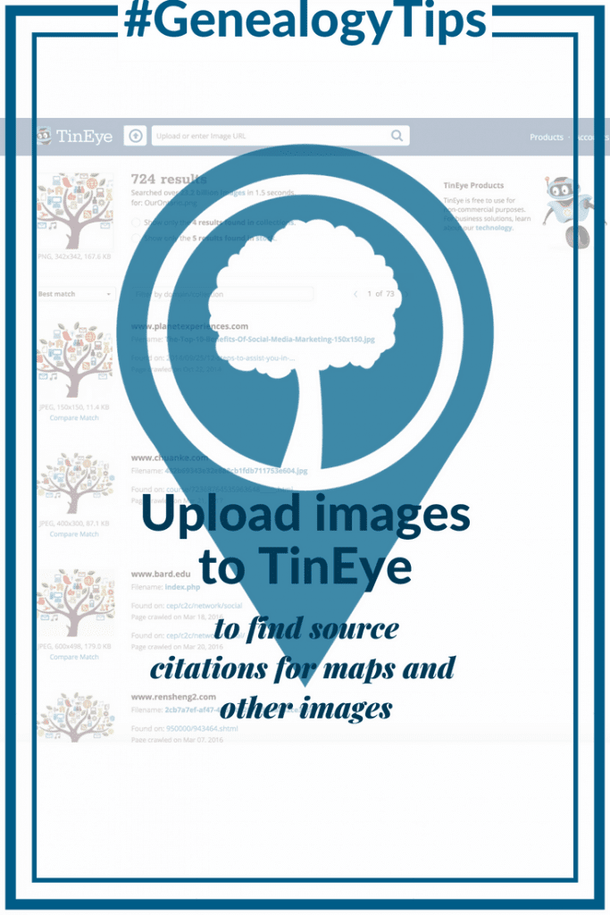 #GenealogyTips Upload images to TinEye to find source citations for maps and other images OnGenealogy