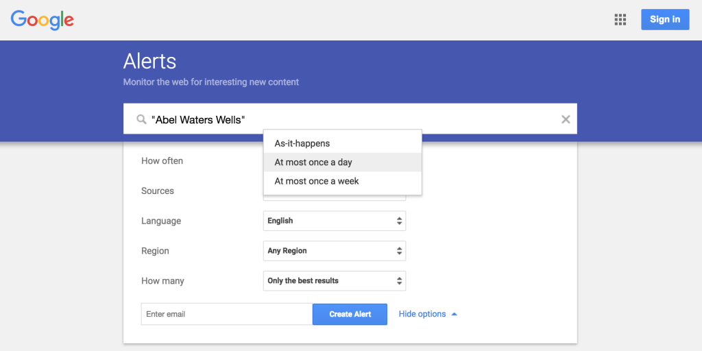 How often to receive Google Alerts