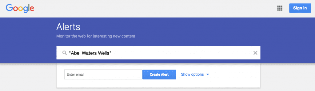 Show Options for your Google Alerts