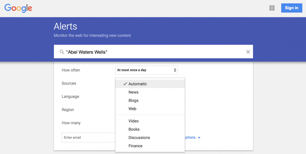 Sources to search for your Google Alerts