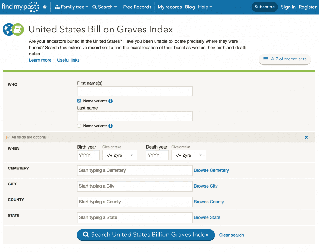 US Billion Graves Index free at FindMyPast