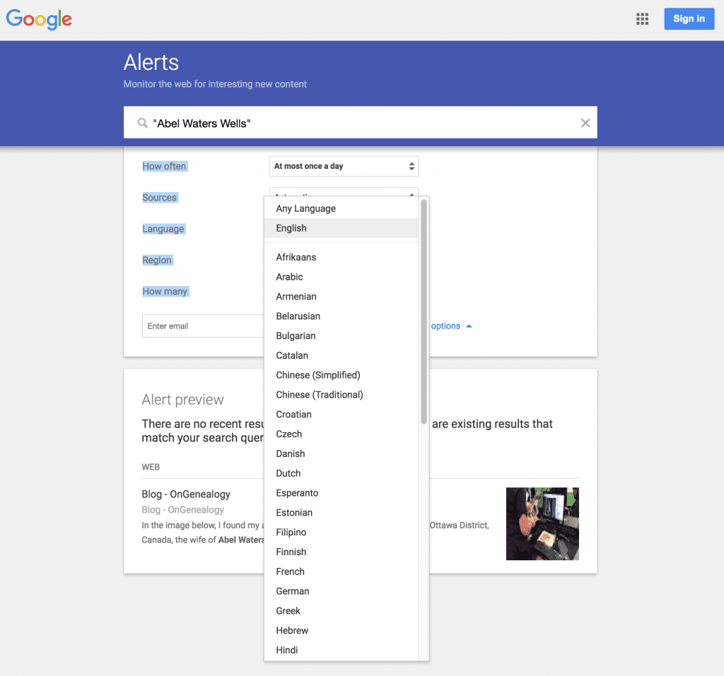 What languages do you want Google Alerts to search