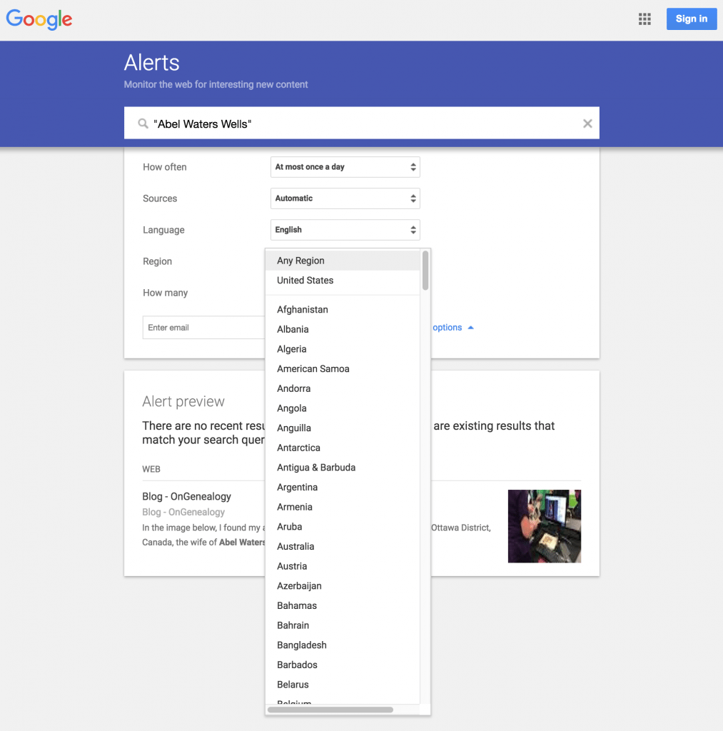 What region do you want Google Alerts to search