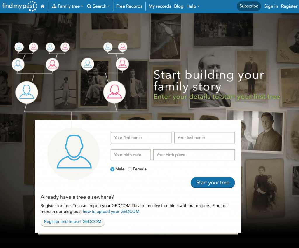 free family tree at FindMyPast