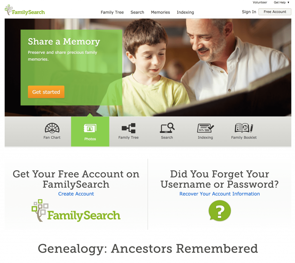 FamilySearch Photos and Memories