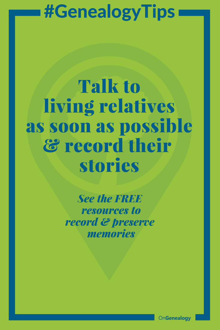 #GenealogyTips Talk to living relatives and record their stories A free way to record and preserve stories and photos