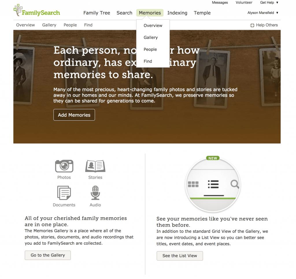 Menu options at FamilySearch Memories OnGenealogy blog