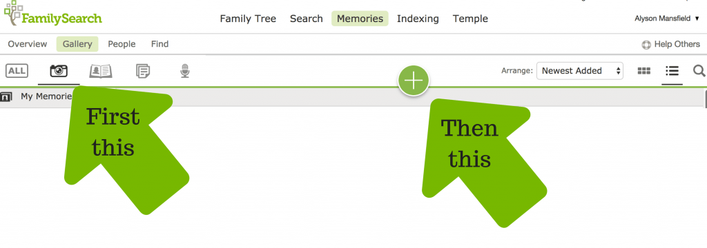 Steps to follow to add a memory at FamilySearch Memories OnGenealogy blog