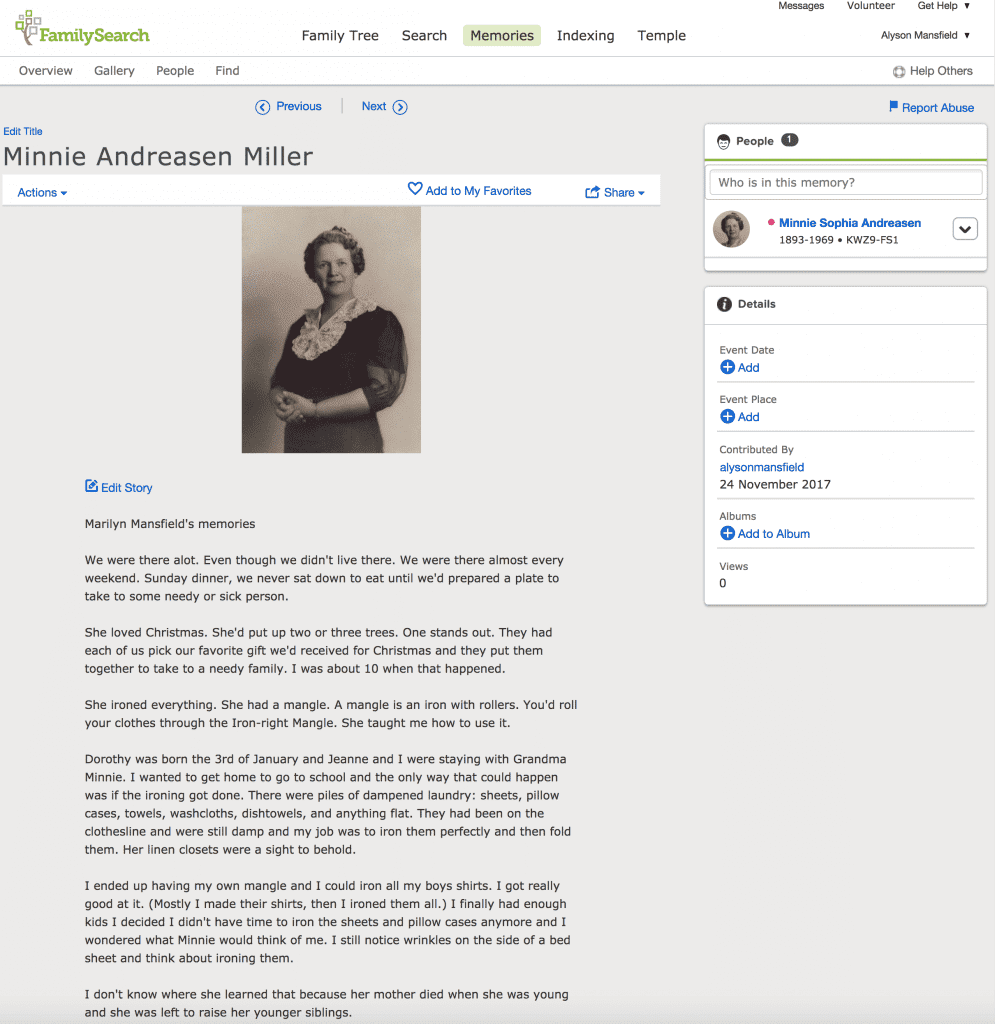 Uploading photos and stories to FamilySearch Memories