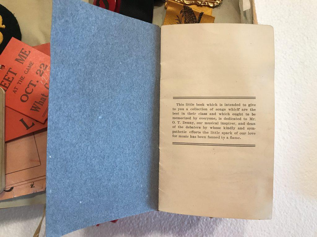 Pamphlet on scrapbook page