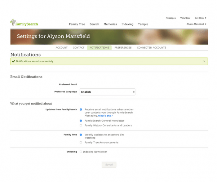 Image of FamilySearch Settings window for Notifications