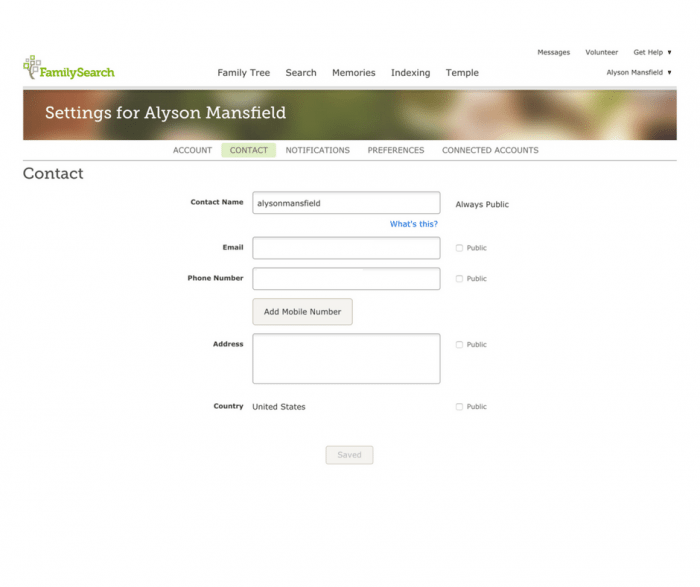 Image of FamilySearch Settings window for contact information