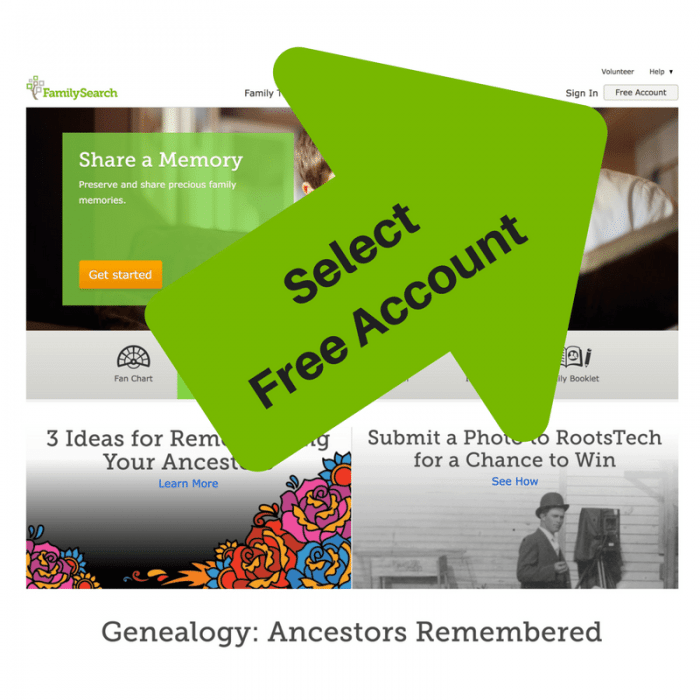 Image of FamilySearch homepage with arrow and text overlay showing where to select Free Account