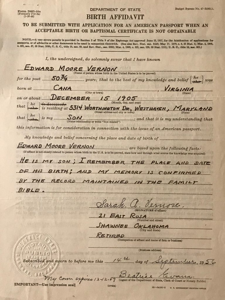 Image of a Birth Affidavit for Edward Moore Vernon - a substitute birth record acceptable when birth or baptismal certificate was not obtainable