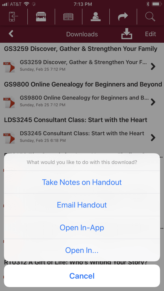 Image of RootsTech 2018 app Handout Options
