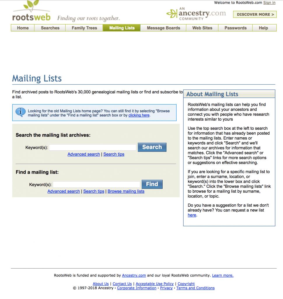 RootsWeb Mailing Lists