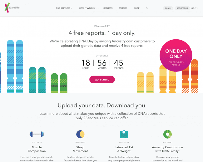 23andMe DNA Day upload special one day only