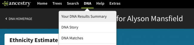 AncestryDNA Your DNA Results Summary menu to download DNA
