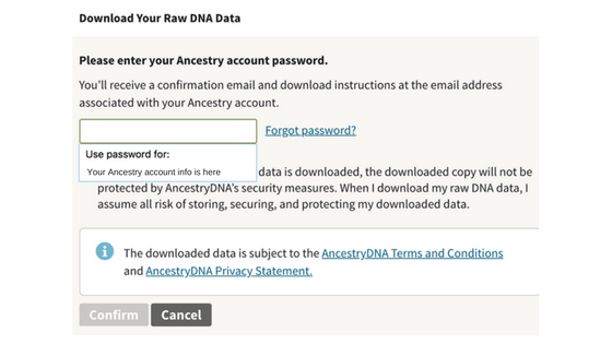 Your Ancestry account info