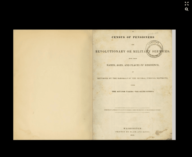 Image of digitized book for 1840 Census of Pensioners for the Revolutionary War or Military Services