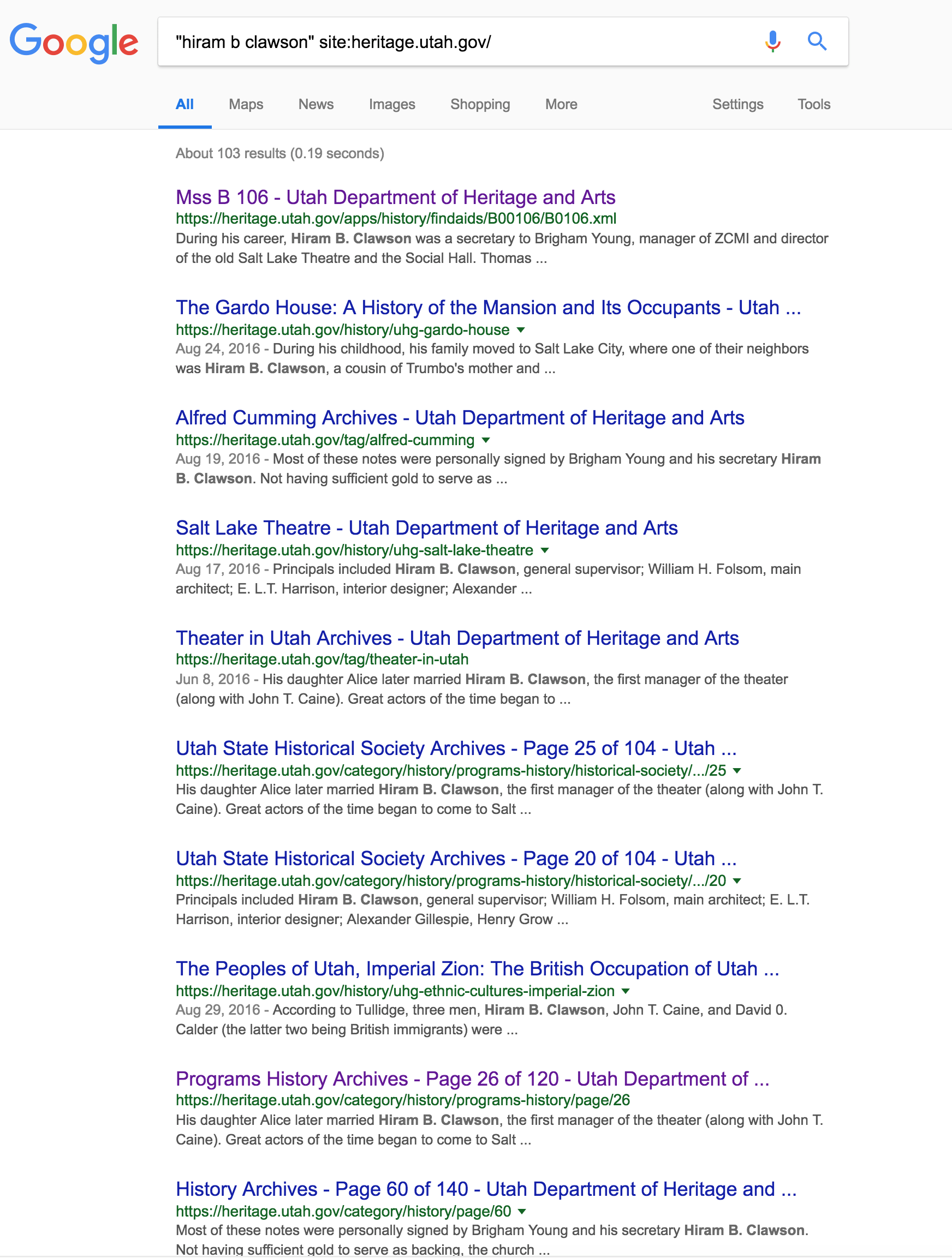 Google Advanced Site Search results