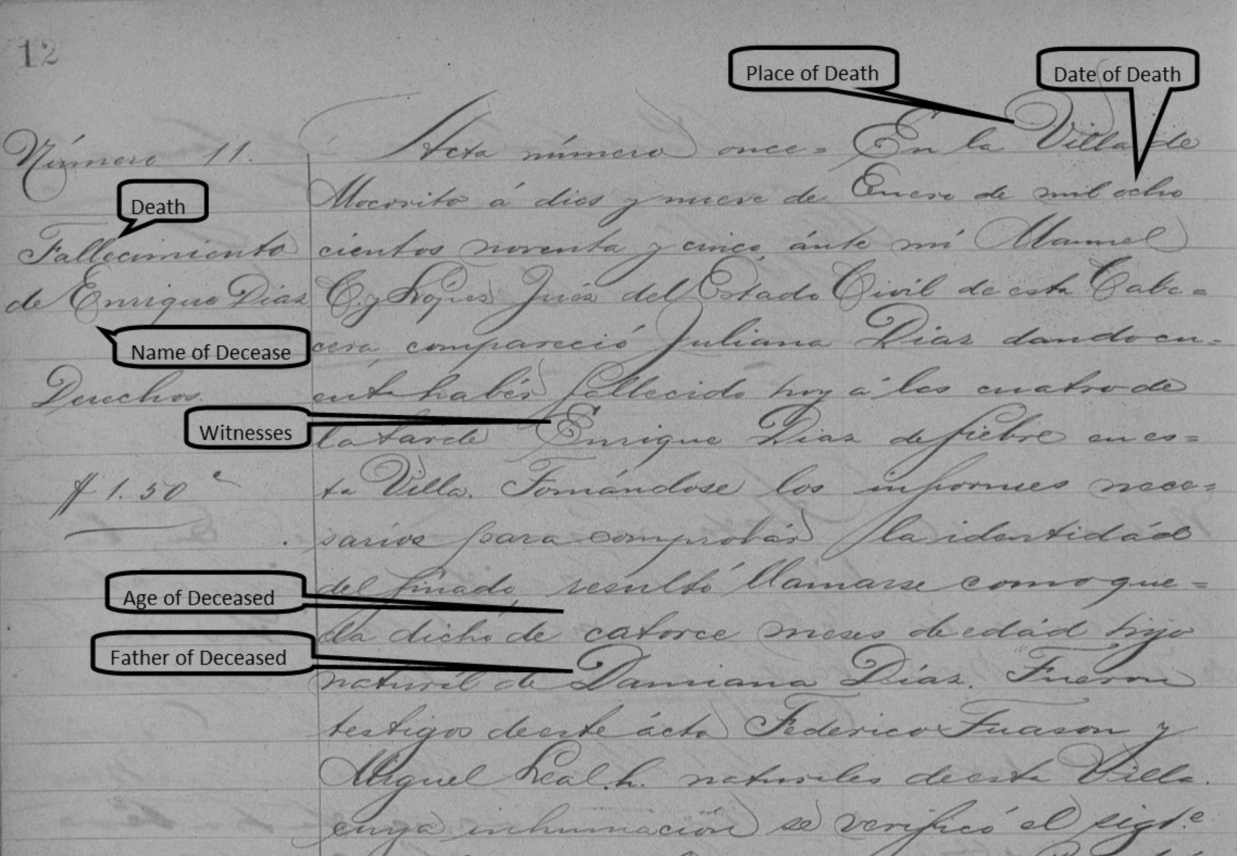 How to Read Mexican Death records in English - handwritten Mexican Death Record