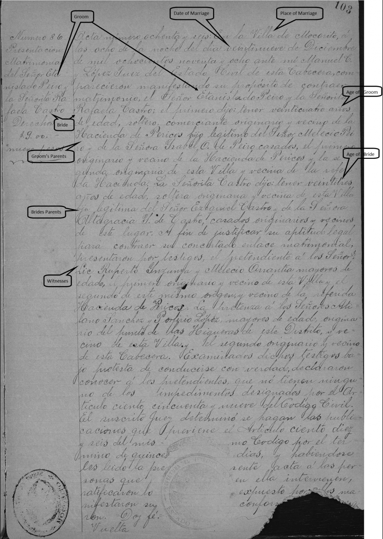 How to Read Mexican Marriage Records in English - Handwritten Mexican Marriage records at FamilySearch