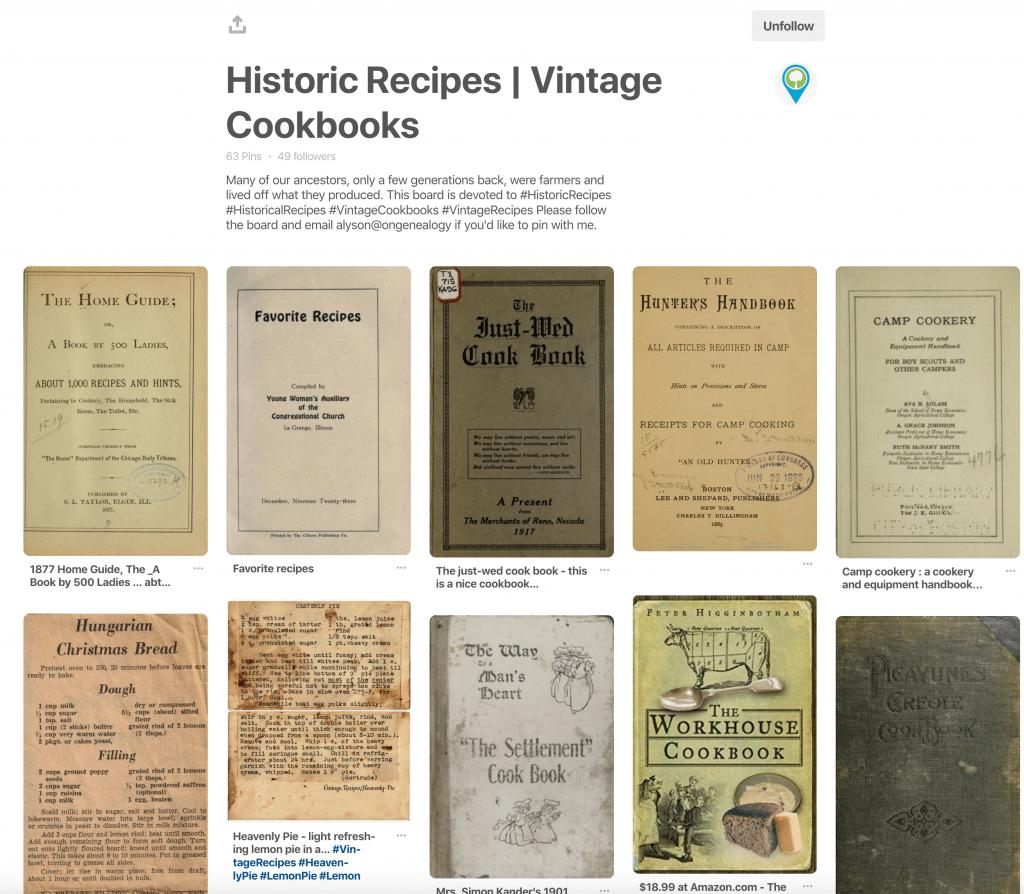 Historic Recipes & Vintage Cookbooks OnGenealogy Pinterest Board