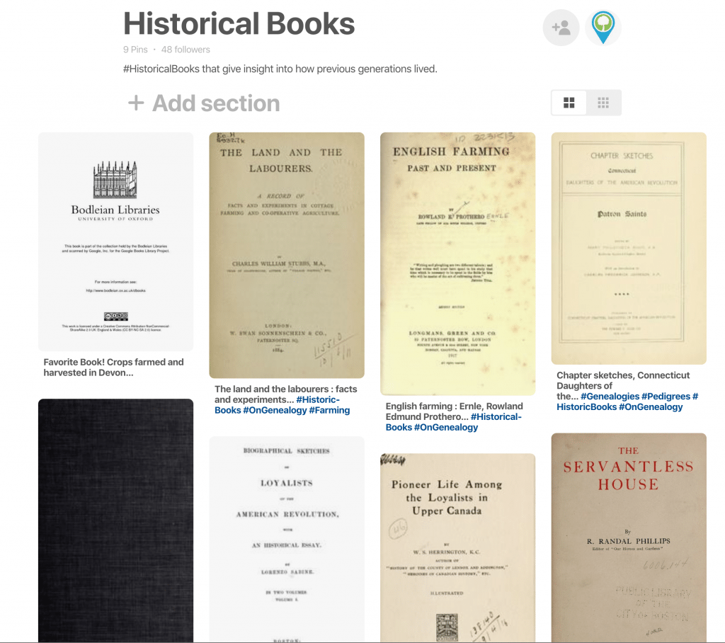 Historical Books at OnGenealogy Pinterest Board