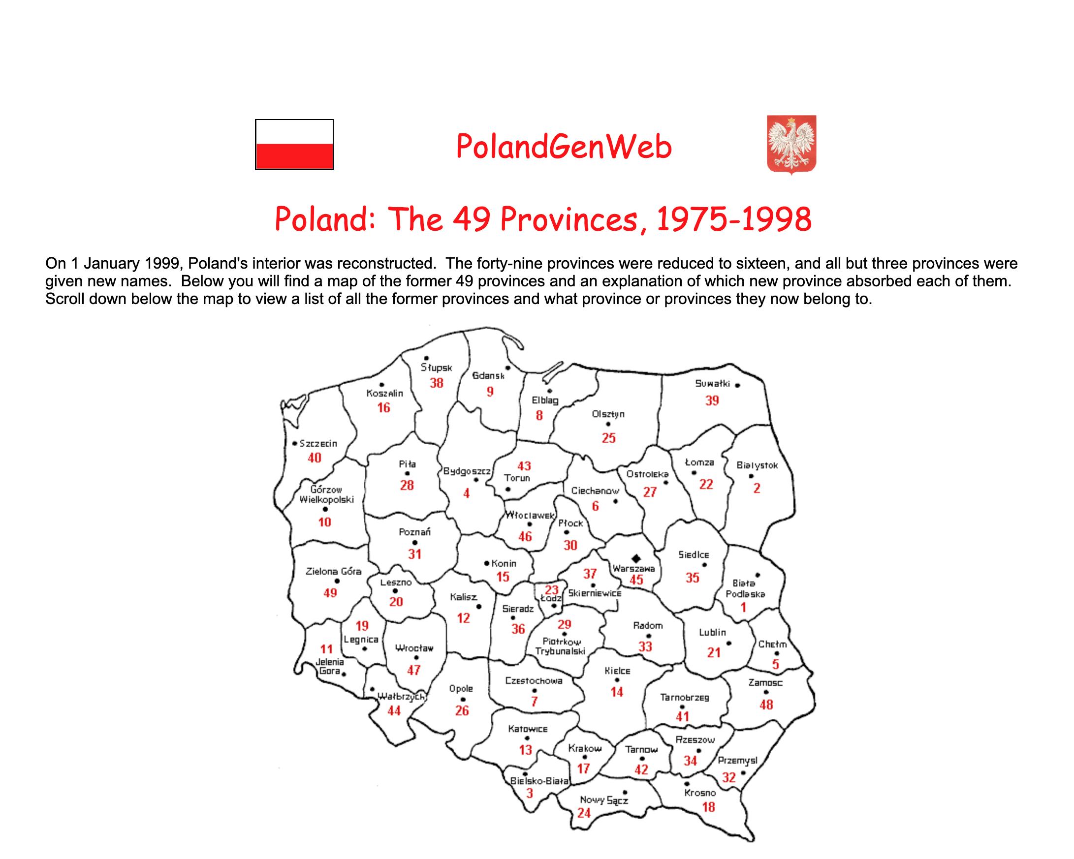 PolandGenWeb Provinces 1975-1998