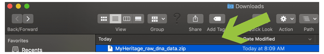 Step 10 - MyHeritageDNA Find the download in your Downloads directory and rename #OnGenealogy How To Download DNA Raw Data from MyHeritageDNA