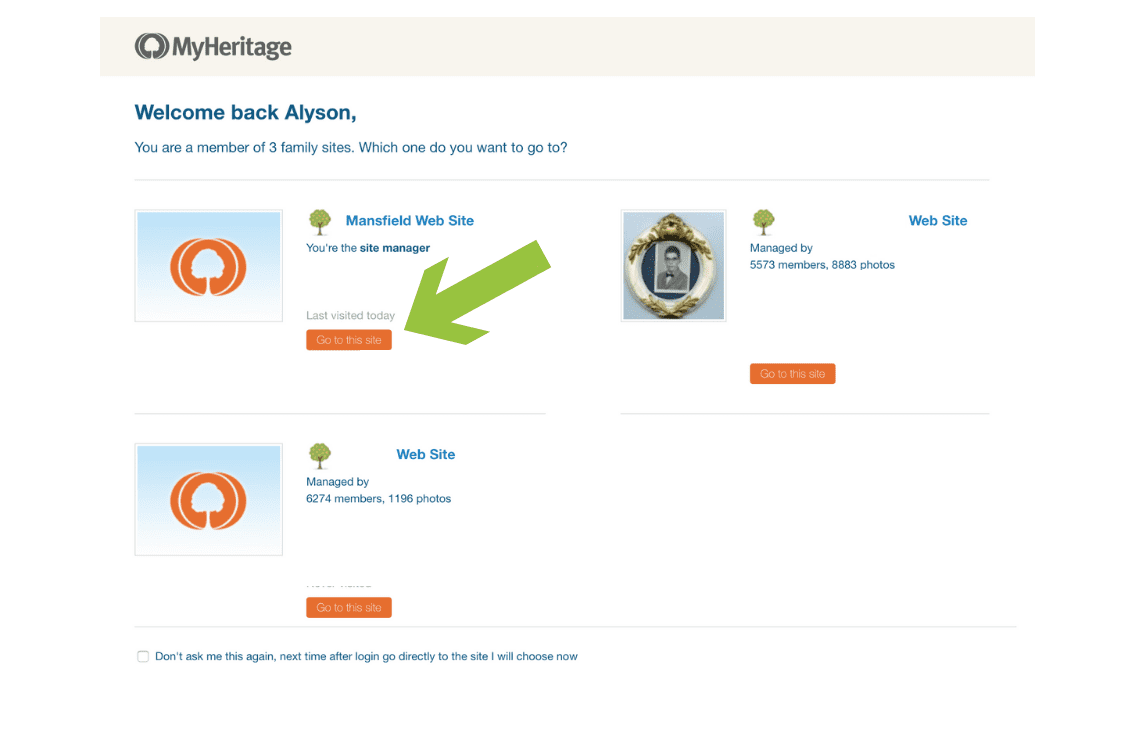 Step 2 - MyHeritageDNA If you're a member of more than one family website select which site you want to go to #OnGenealogy How To Download DNA Raw Data from MyHeritageDNA