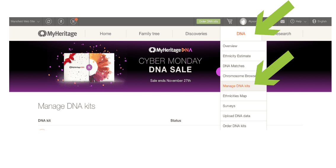 Step 2 - MyHeritageDNA Select DNA from header menu Select Manage DNA kits #OnGenealogy How to Download DNA Raw Data from MyHeritageDNA