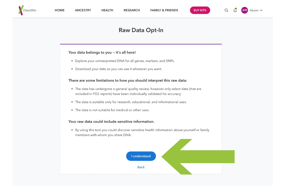 Step 3 - 23andMe DNA Raw Data Opt-In select I understand #OnGenealogy How to Download DNA Raw Data from 23andMe