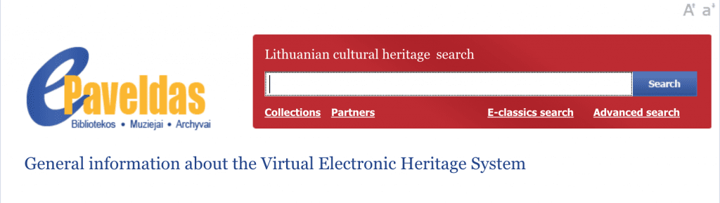 ePaveldas online search for the Lithuanian National Library listed at OnGenealogy