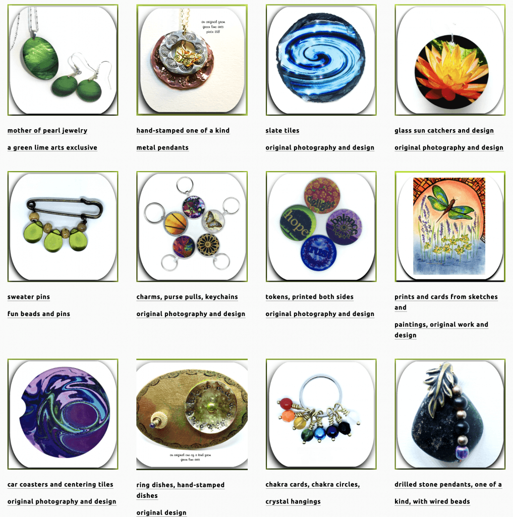 Green Lime Arts website images of gifts and mementos listed at #OnGenealogy