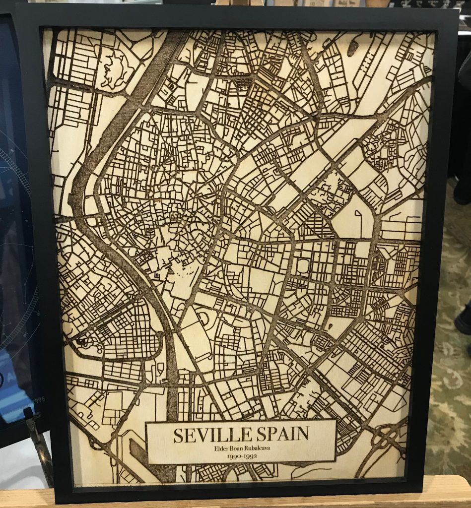 The Mango Design laser engraved wood street map of Seville Spain listed at #OnGenealogy
