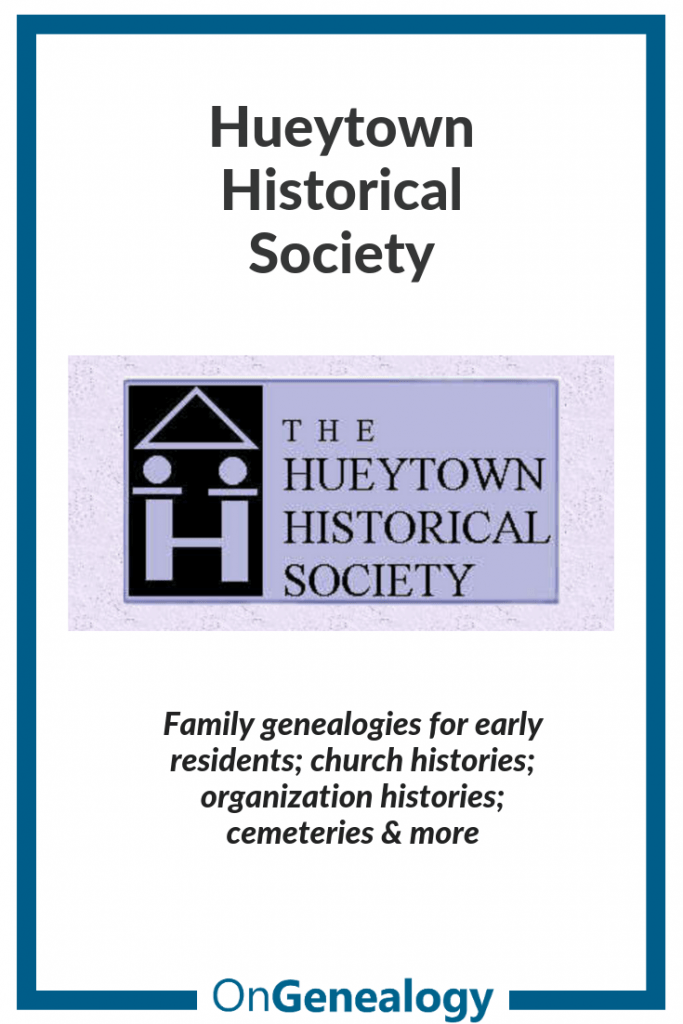 Hueytown Historical Society listed at OnGenealogy